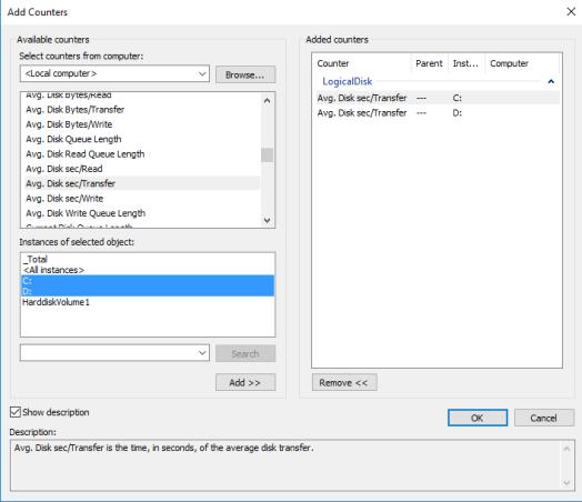 logical disk - avg sec per transfer